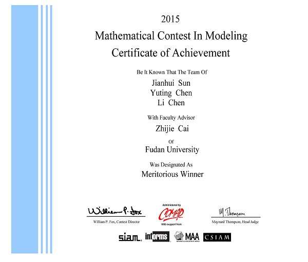 Meritorious Winner in Mathematical Contest in Modeling 2015